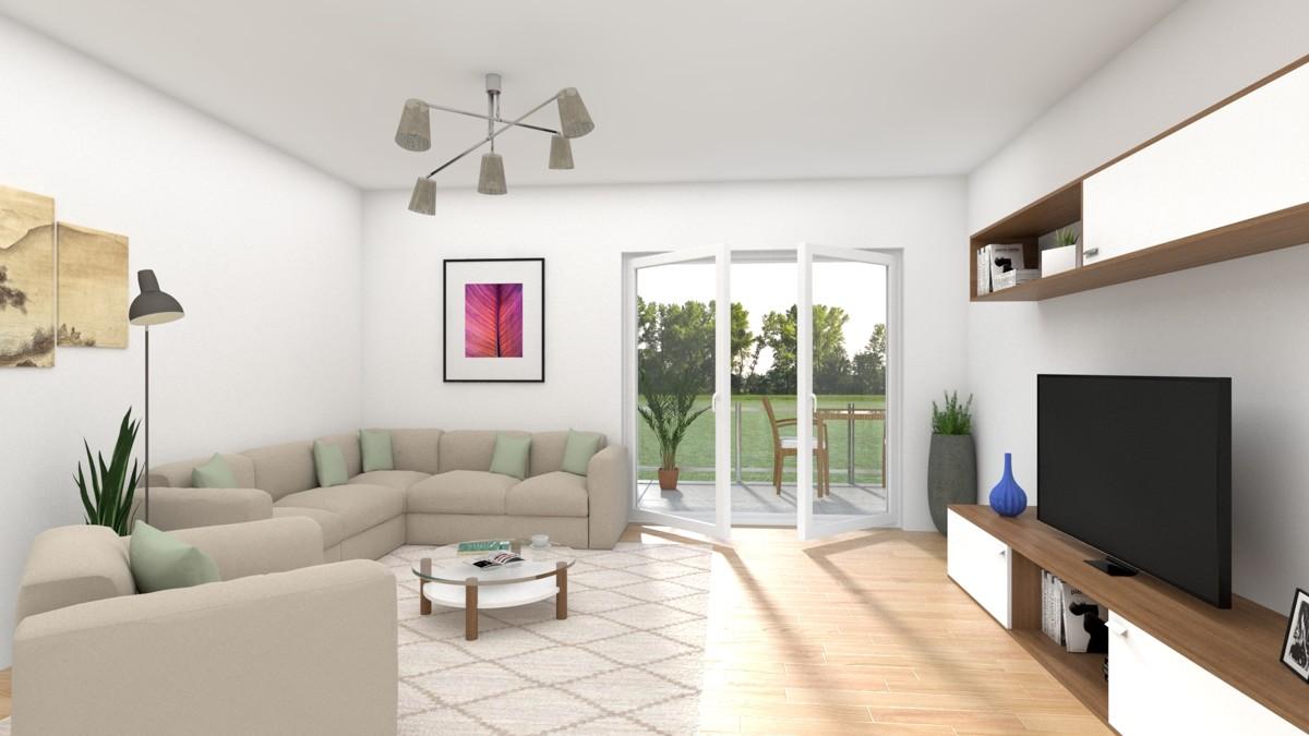 Wohn-Esszimmer mit Einrichtungsvorschlag